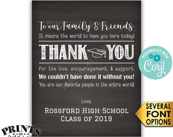 Graduation Thank You Sign, Thanks from the Graduates, PRINTABLE Chalkboard Style Graduation Party Decoration <Edit Yourself with Corjl>