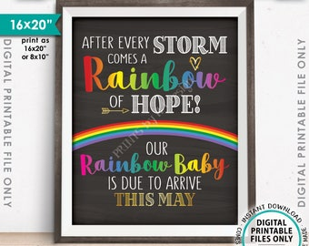 """Rainbow Baby Pregnancy Announcement, Pregnancy Reveal After Loss, Baby Due in MAY Dated Chalkboard Style PRINTABLE 8x10/16x20"""" Sign <ID>"""