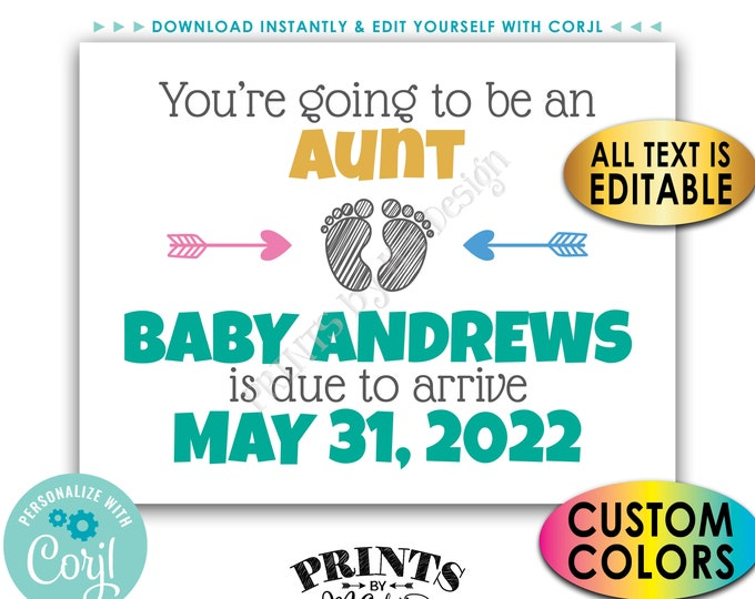 """Aunt & Uncle Pregnancy Announcement, You're Going to be an Aunt, an Uncle, etc, Custom PRINTABLE 8.5x11"""" Sign <Edit Yourself with Corjl>"""