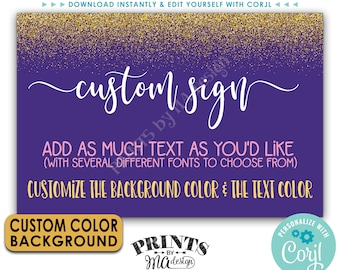 "Custom Gold Sign, Gold Glitter with Custom Background Color, One Editable PRINTABLE 24x36"" Landscape Banner <Edit Yourself with Corjl>"