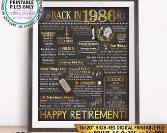 "Retirement Party Decorations, Back in 1986 Poster, Flashback to 1986 Retirement Party Decor, PRINTABLE 16x20"" Sign <ID>"