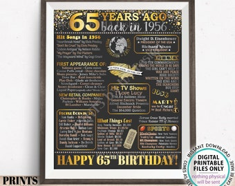"65th Birthday Poster Board, Back in the Year 1956 Flashback 65 Years Ago B-day Gift, PRINTABLE 16x20"" Born in 1956 Sign <ID>"