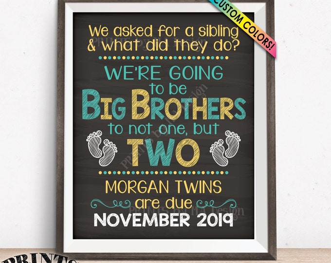 """Twins Pregnancy Announcement Sign, Promoted to Big Brothers to Twins, Custom PRINTABLE 8x10/16x20"""" Chalkboard Style Expecting Twins Sign"""