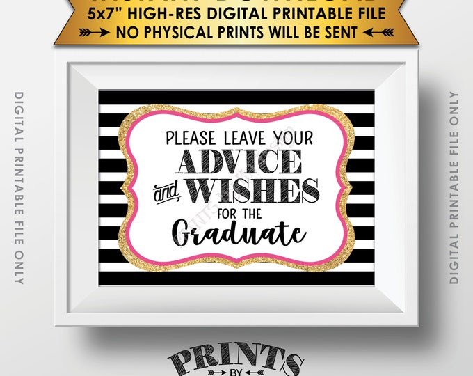 """Graduation Advice, Please Leave your Advice and Well Wishes for the Graduate, Black Pink & Gold Glitter Printable 5x7"""" Instant Download"""