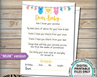 "Dear Baby Shower Activity, Baby Shower Game, Baby Advice Game, UK/Austraila Mum Version, Gender Neutral 5x7"" Printable Instant Download"