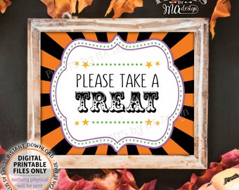 "Halloween Carnival Take a Treat Sign, Carnival Treats, Candy Bar, Carnival Favors, Circus Favors, PRINTABLE 8x10/16x20"" Treat Sign <ID>"