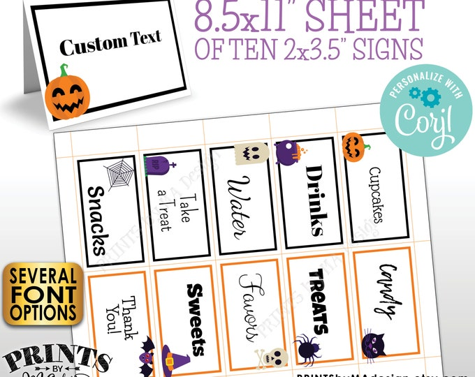 "Halloween Place Cards, Buffet Food Signs, One PRINTABLE 8.5x11"" Sheet of 2x3.5"" Halloween Party Labels <Edit Yourself with Corjl>"