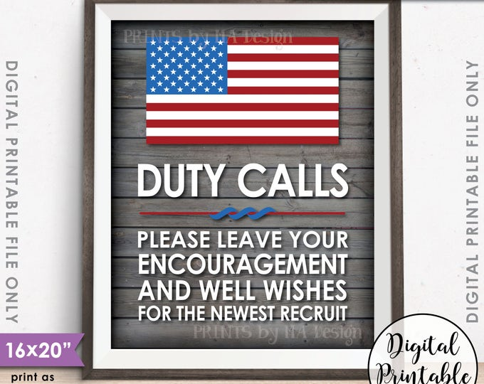 """Military Party Decor, Leave your Encouragement and Well Wishes, Boot Camp, Gray Rustic Wood Style 8x10/16x20"""" Printable Instant Download"""