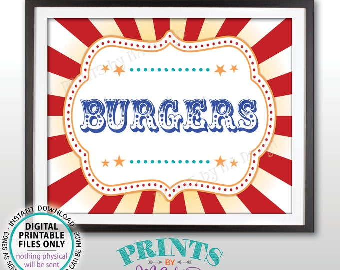 """Burgers Carnival Food Signs, Hamburgers Food Carnival Theme Party, Sliders Burgers, Circus Theme Party, PRINTABLE 8x10/16x20"""" Sign <ID>"""