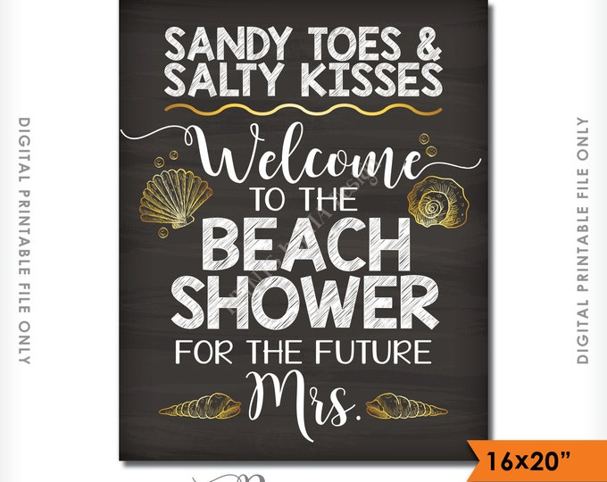 "Bridal Shower Sign, Beach Bridal Shower Welcome, Wedding Shower, Chalkboard Style 8x10"" or 16x20"" Instant Download Digital Printable File"