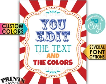 """Custom Carnival Sign, Carnival Theme Party Sign, Circus Birthday Party, One PRINTABLE 8x10/16x20"""" Sign <Edit Yourself with Corjl>"""