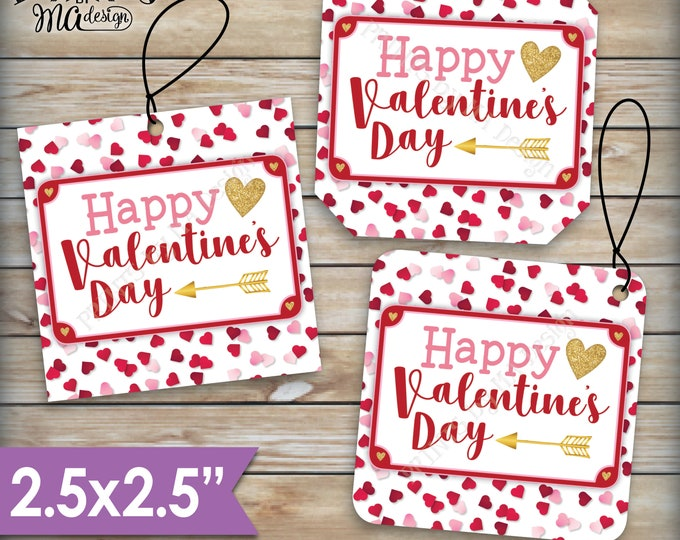 "Valentine's Day Tags, Valentines Day Cards, Treat Bag, Valentine's Goodie Bag, School Valentines, 2.5"" tags on PRINTABLE 8.5x11"" Sheet <ID>"