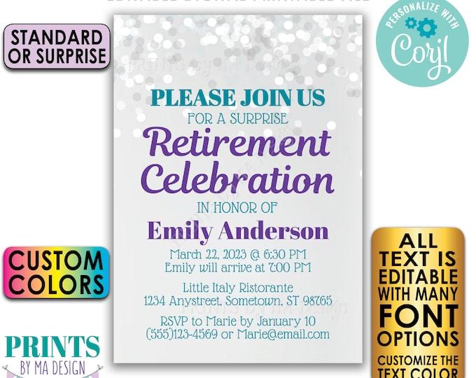 "Editable Retirement Party Invitation, Retirement Celebration Invite, Custom PRINTABLE 5x7"" Glitter Style Invite <Edit Yourself w/Corjl>"