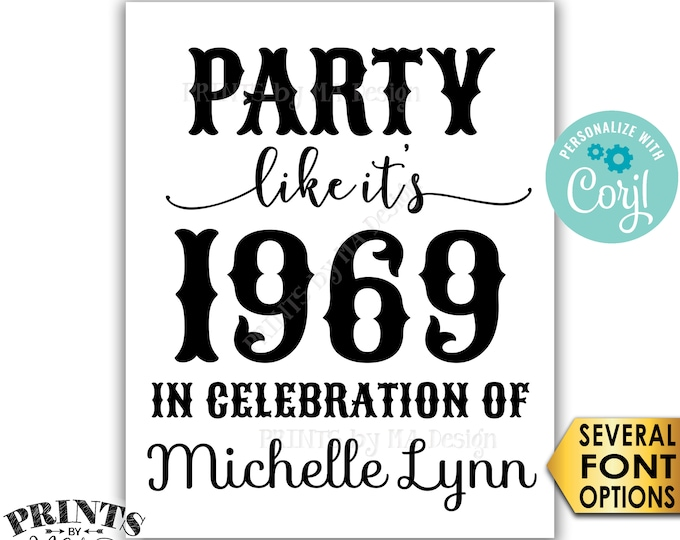 """Party Like It's ANY Year Sign with a Custom Name, Birthday, Class Reunion, PRINTABLE 8x10/16x20"""" B&W Sign <Edit Yourself with Corjl>"""