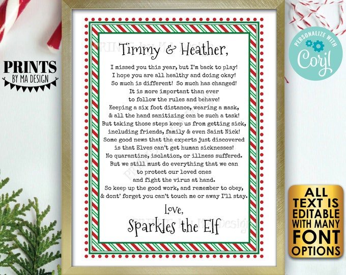 "Christmas Elf Welcome Back Letter, Quarantine Isolation Health & Safety, One Editable PRINTABLE 8.5x11"" Digital File <Edit Yourself w/Corjl>"