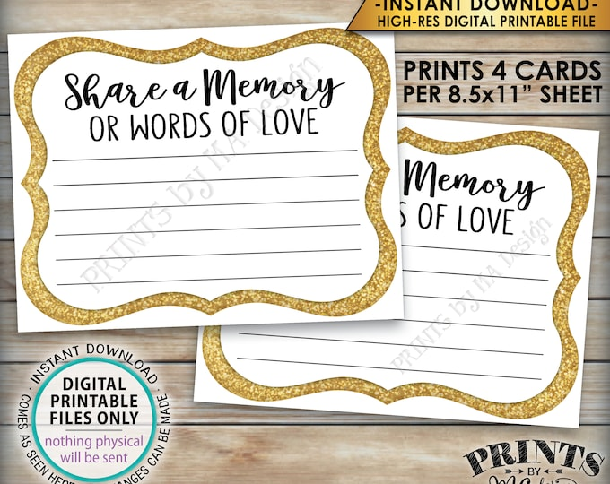 """Share a Memory Card, Memory or Words of Love, Share Memories, Memorial, Retirement, Graduation, Gold, 4 cards per 8.5x11"""" PRINTABLE Sheet"""