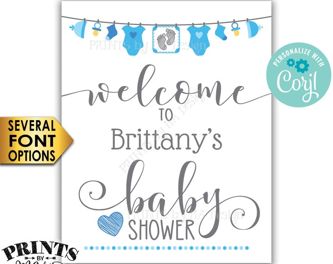 """Blue Baby Shower Welcome Sign, Blue Clothesline Baby Shower Decor, It's a Boy, PRINTABLE 8x10/16x20"""" Sign <Edit Yourself with Corjl>"""