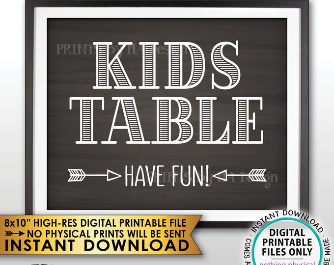 """Kids Table Sign, Have Fun Kids Table Reception Sign, PRINTABLE 8x10"""" Chalkboard Style Wedding Sign <ID>"""