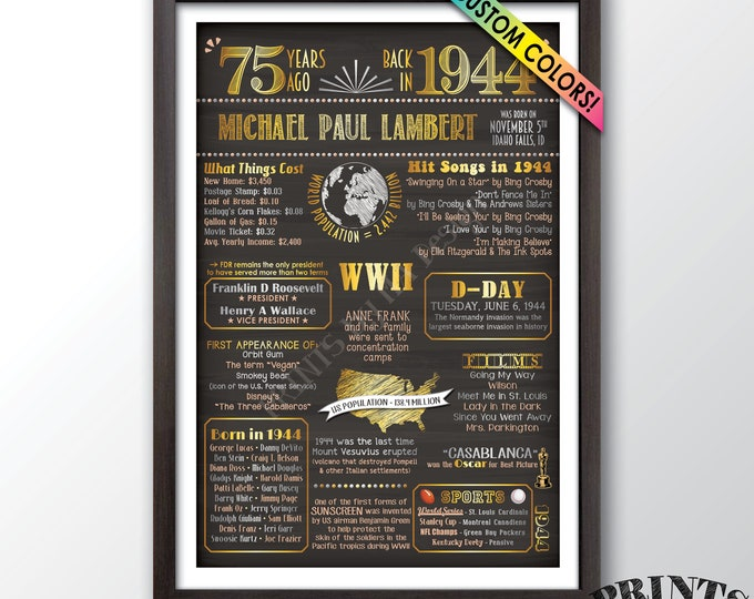 "75th Birthday Flashback to 1944 Poster, Back in 1944 Birthday Party, 1944 Sign, Custom PRINTABLE 24x36"" 1944 Flashback Sign"