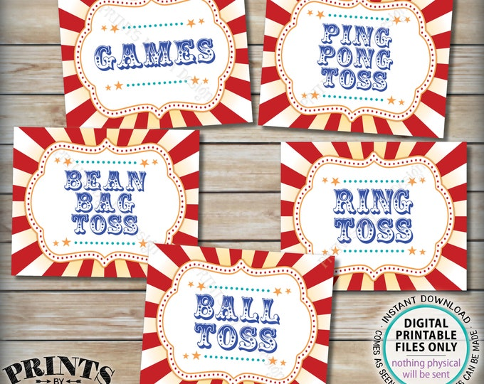 "Carnival Signs, Carnival Toss Games Budle Pack, Ring Toss, Ball Toss, Ping Pong, Bean Bag, Circus Party, PRINTABLE 8x10/16x20"" Signs <ID>"