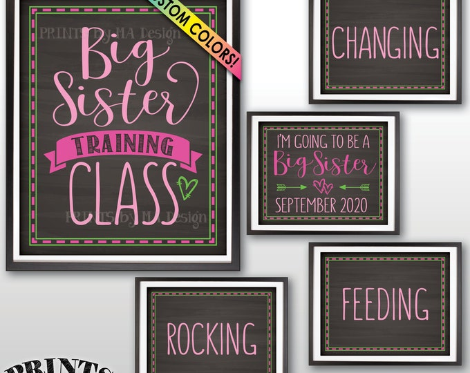 "Baby #2 Pregnancy Announcement, Big Sister Training Class Photo Props, We're Pregnant, 5 Custom Chalkboard Style PRINTABLE 8x10/16x20"" Signs"