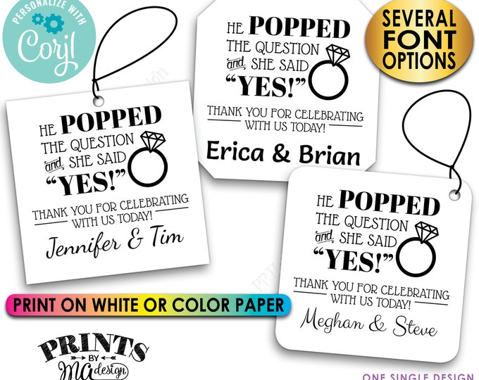 """He Popped the Question & She Said Yes, Engagement Party, Custom 2.5"""" Square Cards, Digital PRINTABLE 8.5x11"""" File <Edit Yourself with Corjl>"""