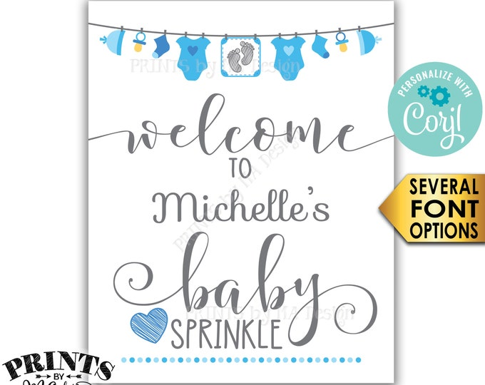 """Baby Sprinkle Welcome Sign, It's a Boy Blue Clothesline Baby Decor, Baby Number 2, PRINTABLE 8x10/16x20"""" Sign <Edit Yourself with Corjl>"""
