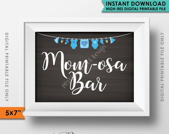 "Momosa Bar Sign, MOMosa Baby Shower Sign, It's a BOY, Make a Mimosa, Blue Clothesline, PRINTABLE 5x7"" Sign <Instant Download>"