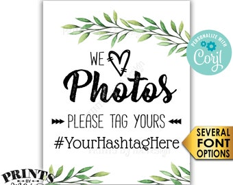 "Hashtag Sign, We Love Photos Please Tag Your Photos, Botanical Greenery, PRINTABLE 8x10"" Watercolor Style Sign <Edit Yourself with Corjl>"