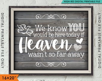 """Heaven Wedding Sign, We Know You Would Be Here Today if Heaven Wasn't So Far Away, Rustic Wood Style 8x10""""/16x20"""" Instant Download Printable"""