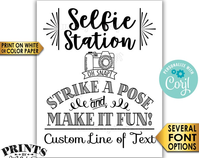 "Selfie Station Sign, Srike a Pose & Make it Fun, Custom PRINTABLE 8x10/16x20"" Sign <Edit Yourself with Corjl>"