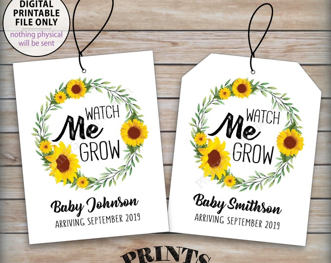 """Watch Me Grow Tags, Sunflower Baby Shower Greenery Tags, Flower Seeds Favors, Baby Shower Favors, 4.25x5.5"""" tags on PRINTABLE 8.5x11"""" Sheet"""