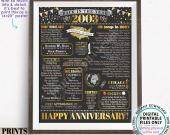 """Back in the Year 2003 Anniversary Sign, Flashback to 2003 Anniversary Decor, Anniversary Gift, PRINTABLE 16x20"""" Poster Board <ID>"""
