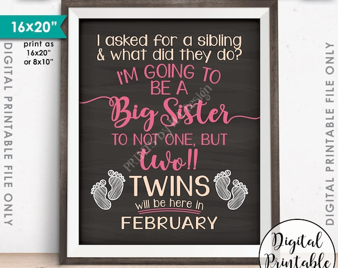 Twins Pregnancy Announcement, Promoted to Big Sister of Twins due in FEBRUARY Dated Chalkboard Style PRINTABLE Twins Reveal Sign <ID>