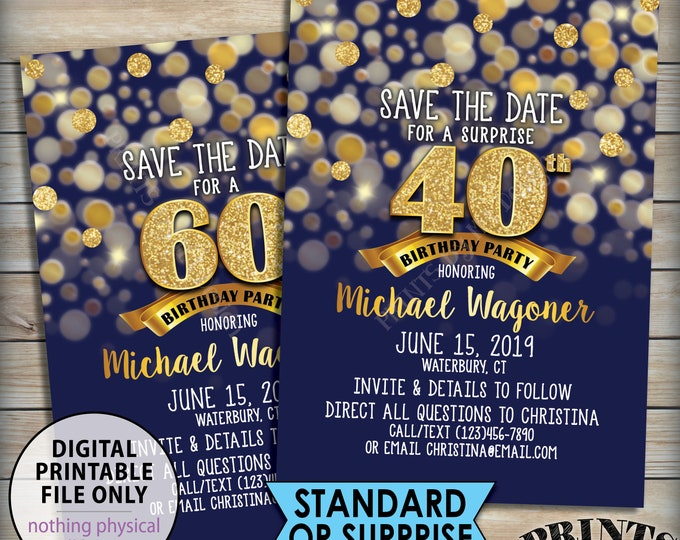 "Birthday Party Save the Date, Birthday Save the Date, 30th 40th 50th 60th 70th Birthday STD, Navy Blue & Gold Glitter 5x7"" PRINTABLE File"