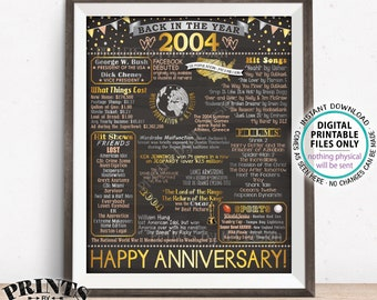 "Back in 2004 Anniversary Sign, Flashback to 2004 Anniversary Decor, Anniversary Gift, PRINTABLE 16x20"" Poster Board <ID>"