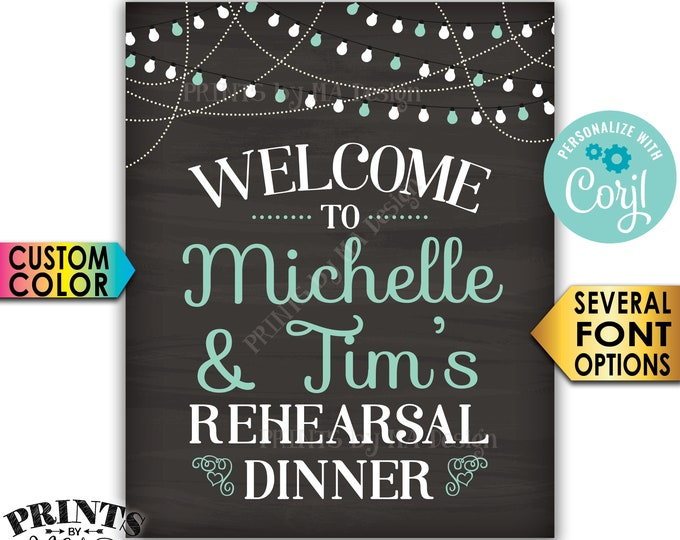 """Welcome to the Rehearsal Dinner Sign, Wedding Rehearsal Decoration, PRINTABLE 16x20"""" Chalkboard Style Sign <Edit Yourself with Corjl>"""