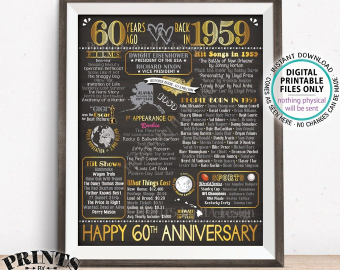 "60th Anniversary Gift, Married in 1959 Anniversary Flashback 60 Years Back in 1959, Gold, PRINTABLE 16x20"" Sign <ID>"