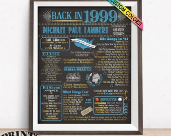 "Retirement Party Decor, Back in 1999 Poster, Flashback to '99, Custom PRINTABLE 16x20"" '99 Retirement Party Decoration"