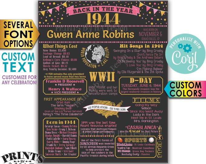 "Back in 1944 Poster Board, Birthday Party, Anniversary Celebration, Custom PRINTABLE 16x20"" 1944 Flashback Sign <Edit Yourself with Corjl>"