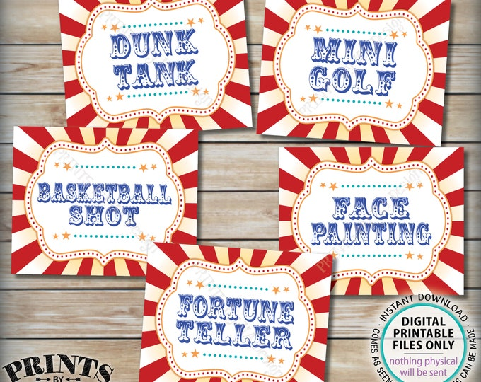 "Carnival Games Signs, Carnival Activities, Circus Party, Dunk Mini Golf Basketball Fortune Teller, PRINTABLE 8x10/16x20"" Carnival Signs <ID>"
