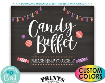 Candy Buffet Sign, Please Help Yourself, Birthday Graduation, Candy Bar, PRINTABLE Chalkboard Style Sign <Edit Colors Yourself with Corjl>