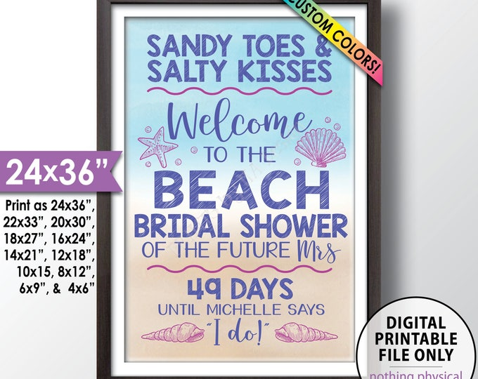 """Beach Bridal Shower Countdown Sign, Beach Wedding Shower, Bridal Shower Welcome Poster, PRINTABLE 24x36"""" Watercolor Style Beach Shower Sign"""