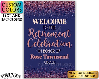 "Retirement Party Sign, Welcome to the Retirement Celebration, Rose Gold Glitter, Custom PRINTABLE 24x36"" Sign <Edit Yourself with Corjl>"