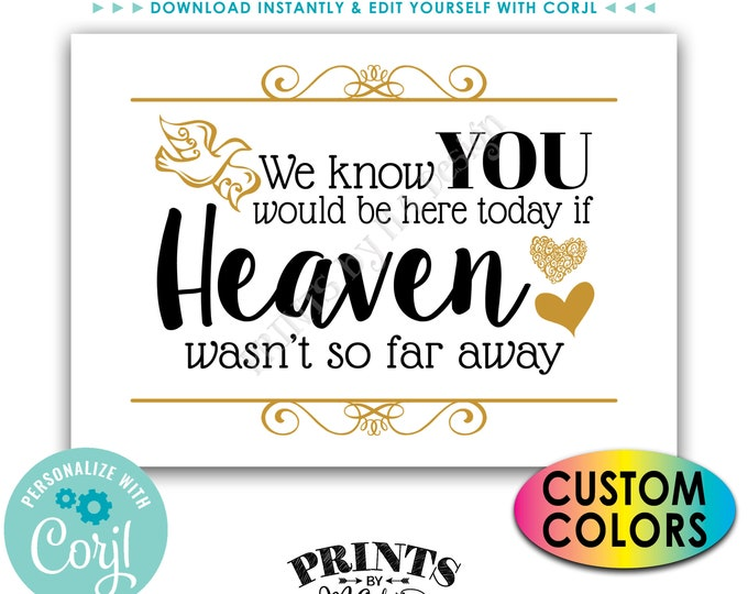 """We Know You Would Be Here Today if Heaven Wasn't So Far Away Tribute Sign, PRINTABLE 5x7"""" Heaven Sign <Edit Colors Yourself with Corjl>"""