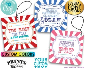 """Custom Carnival Tags, Circus Themed Party,  Festival, Blank 3"""" Cards, Custom Digital PRINTABLE 8.5x11"""" File <Edit Yourself with Corjl>"""
