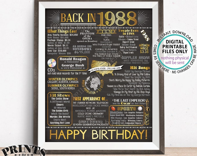 "1988 Birthday Flashback Poster, Back in 1988 Birthday Decorations, '88 B-day Gift, PRINTABLE 16x20"" B-day Sign <ID>"