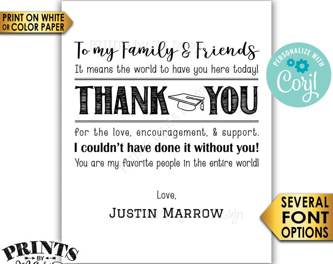 Graduation Thank You Sign, Thanks from the Grad Poster, PRINTABLE B&W Graduation Party Decoration <Edit Yourself with Corjl>
