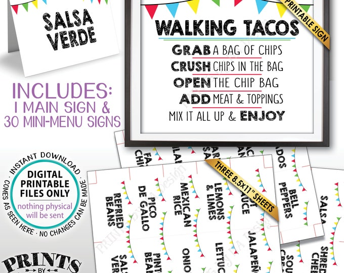 "Walking Tacos Sign and Labels, Build Your Own Taco Buffet, Taco Bar Station, Mexican Fiesta, PRINTABLE 8x10"" Sign & 2x3.5"" Menu Labels <ID>"