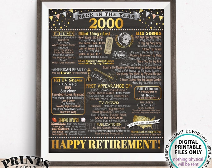 """Retirement Party Decoration, Back in the Year 2000 Flashback to 2000 Retiree Poster Board, PRINTABLE 16x20"""" 2000 Sign <ID>"""